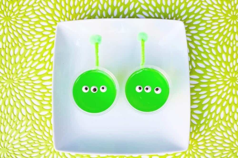 Green alien jelly cups
