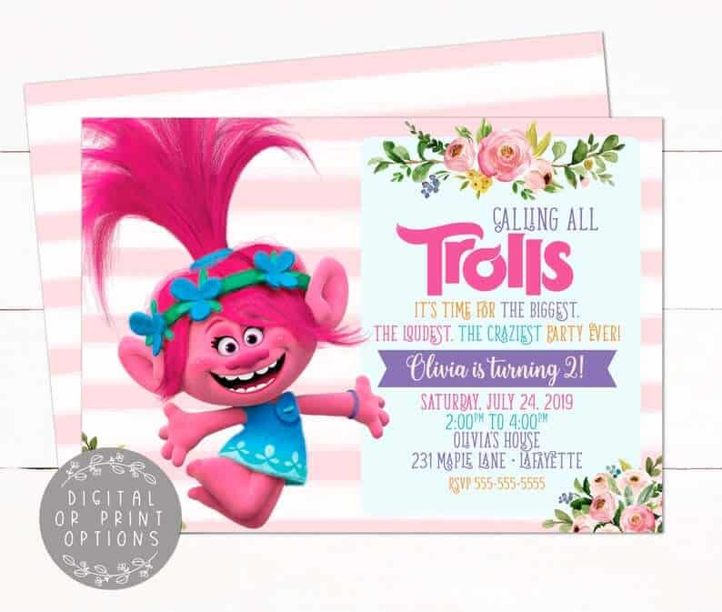 Trolls party invitations