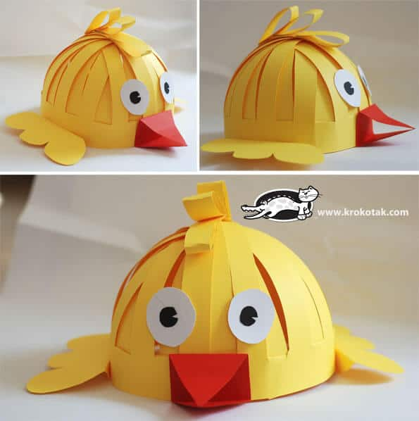 Chicken easter bonnet from paper
