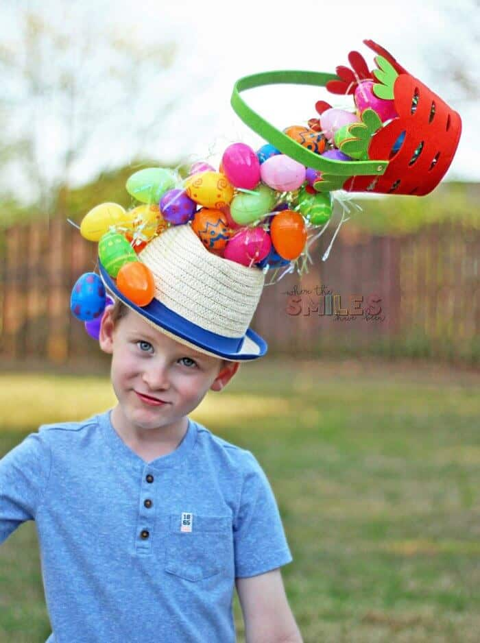 Gravity defying easter hat with eggs