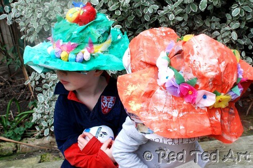 Paper mache easter bonnets for kids