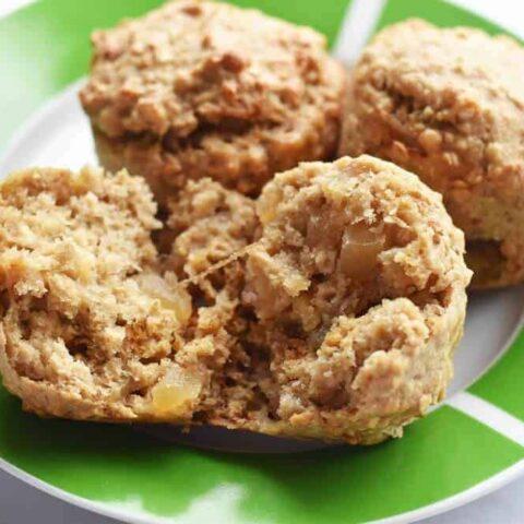 Oat banana applesauce muffins