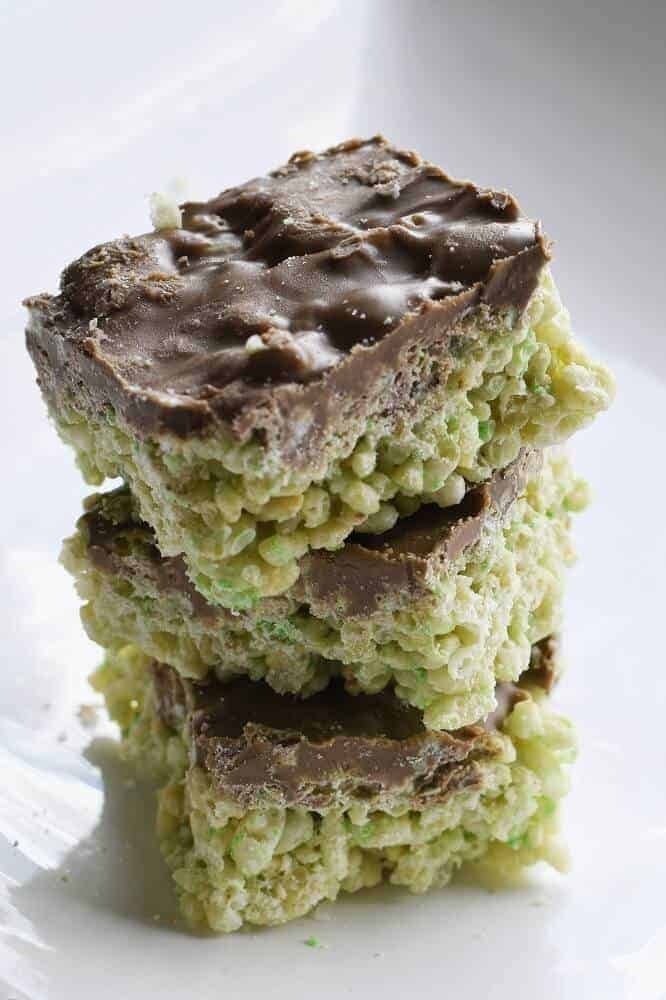 Mint aero chocolate rice bubble slice