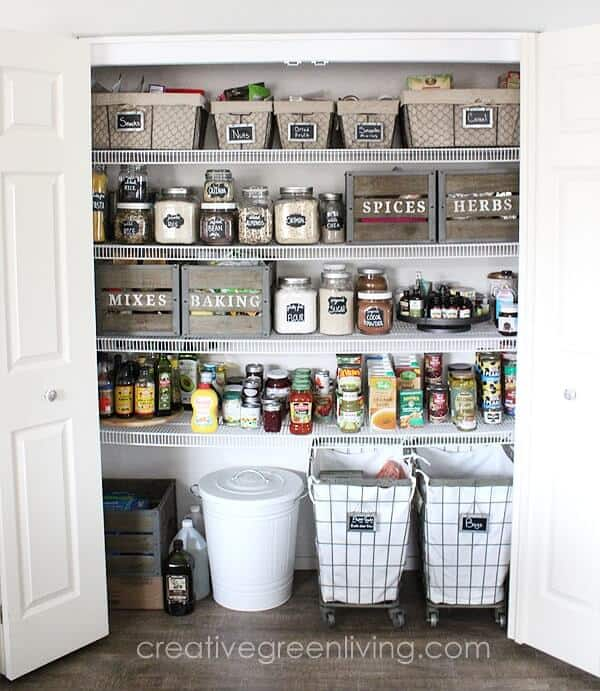 How to get a beautiful fixer upper style modern farmhouse pantry with rustic accents using crates and baskets from world market with carisa bonham of creative green living 1 min 1 14 genius pantry organisation ideas - pantry storage solutions & small pantry tips