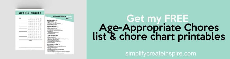Age appropriate chores printable