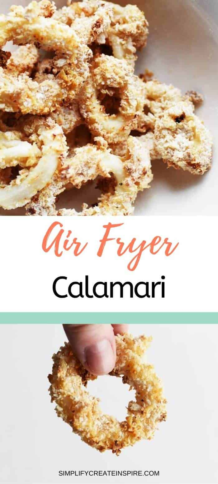 Air fried calamari rings with salt and pepper