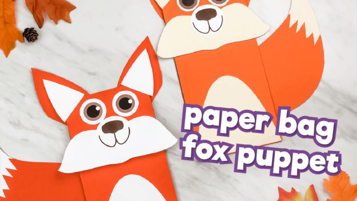 Brown paper bag fox craft puppet yt 10
