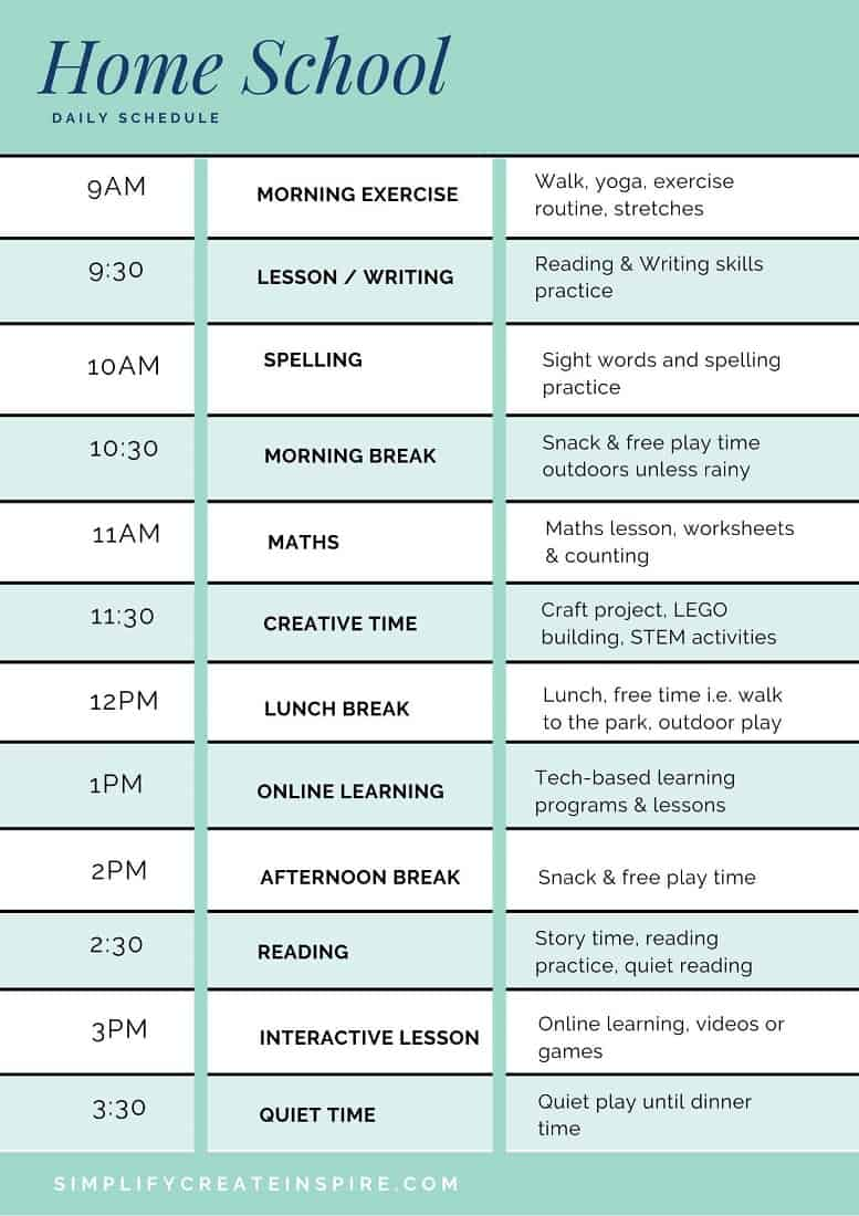 Short-term home school schedule