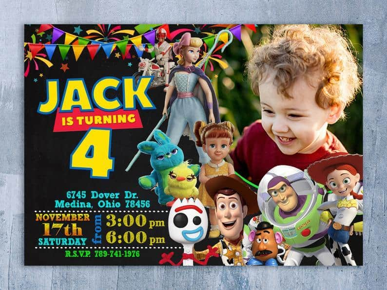 toy story invitation customised