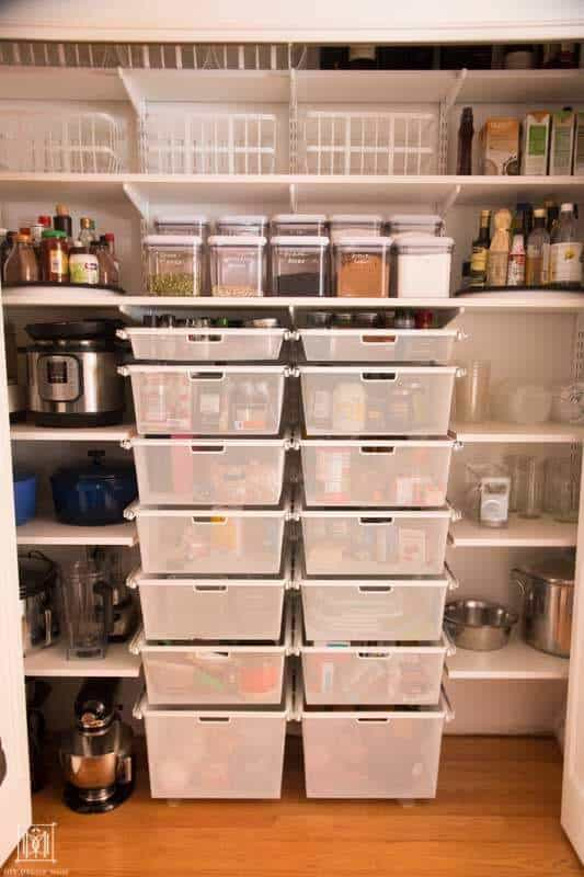 Organized pantry with deep drawers 1 14 genius pantry organisation ideas - pantry storage solutions & small pantry tips