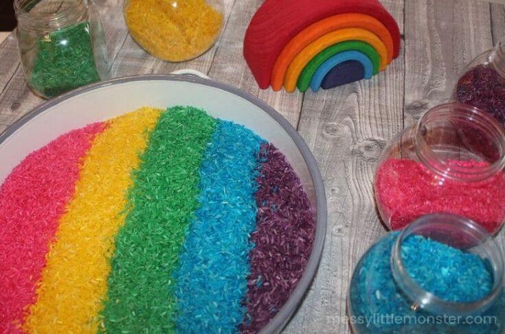 Rainbow rice sensory bin tray setup
