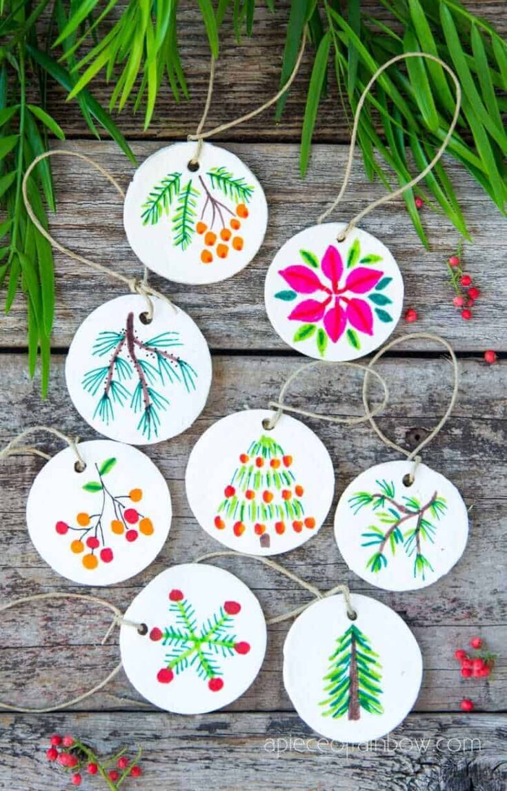 Diy air dry clay salt dough christmas ornaments crafts decorations ideas holiday decor gifts watercolor painting baking soda cornstarch clay apieceofrainbow 1 1