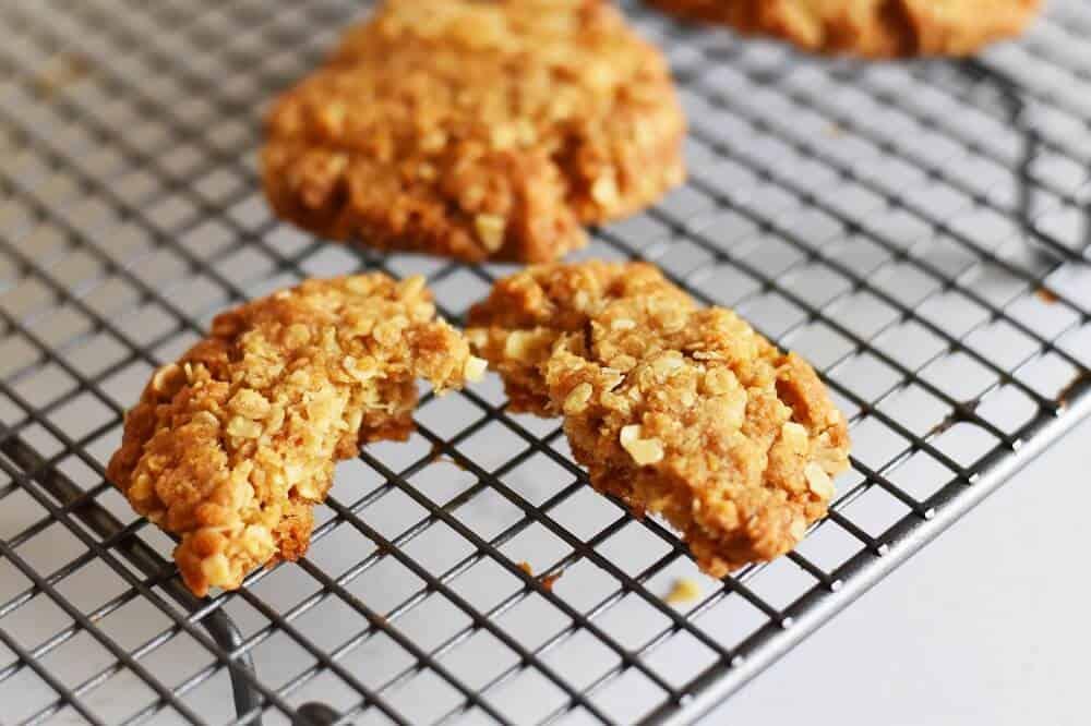 Close up anzac cookie recipe
