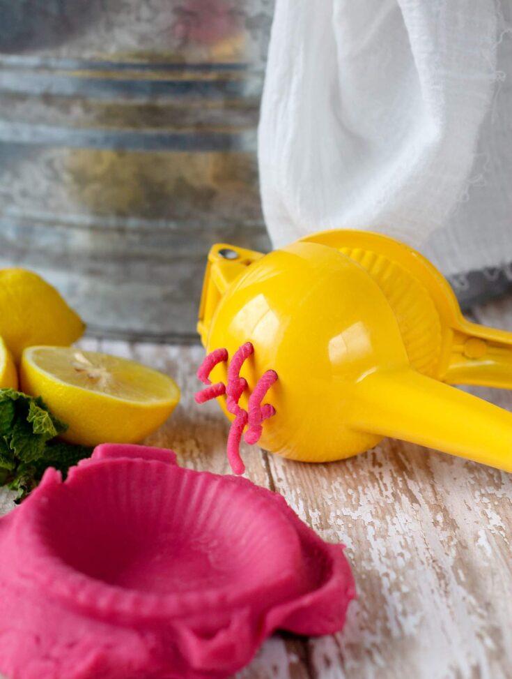 Pink lemonade playdough 5