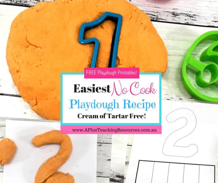 Homemade no cook playdough recipe with just 4 ingredients fb
