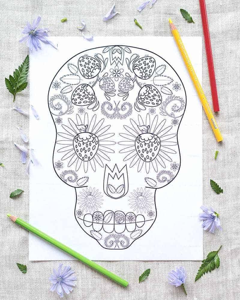 Sugar skull colouring page