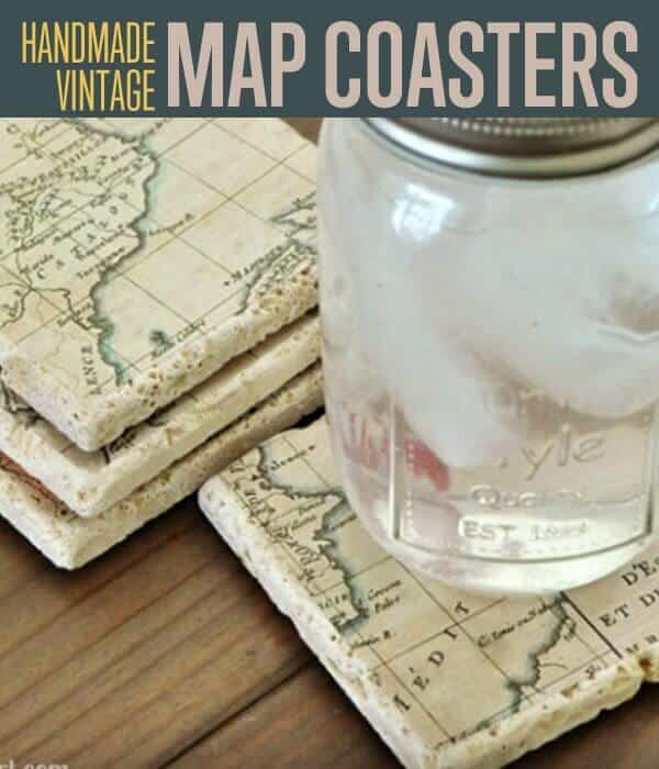 Diy map coasters with tiles diy father's day gift ideas