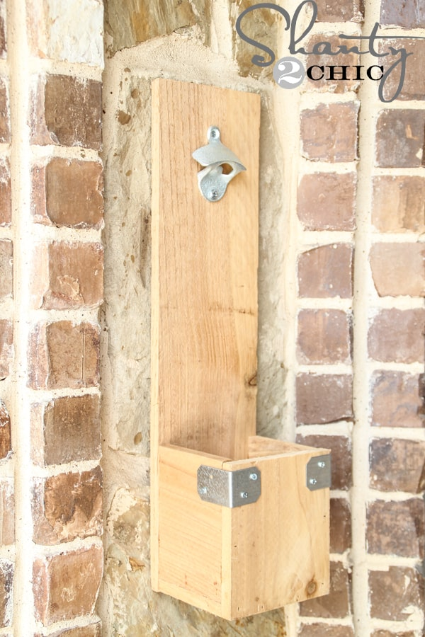 Wooden bottle opener wall mountd