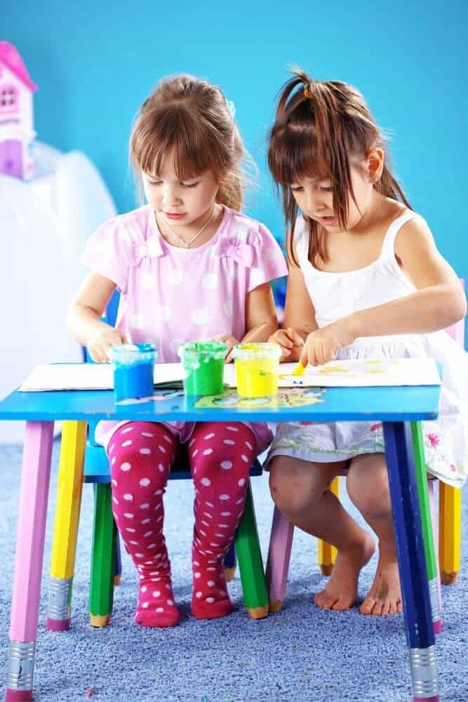 Kids painting with homemade paint