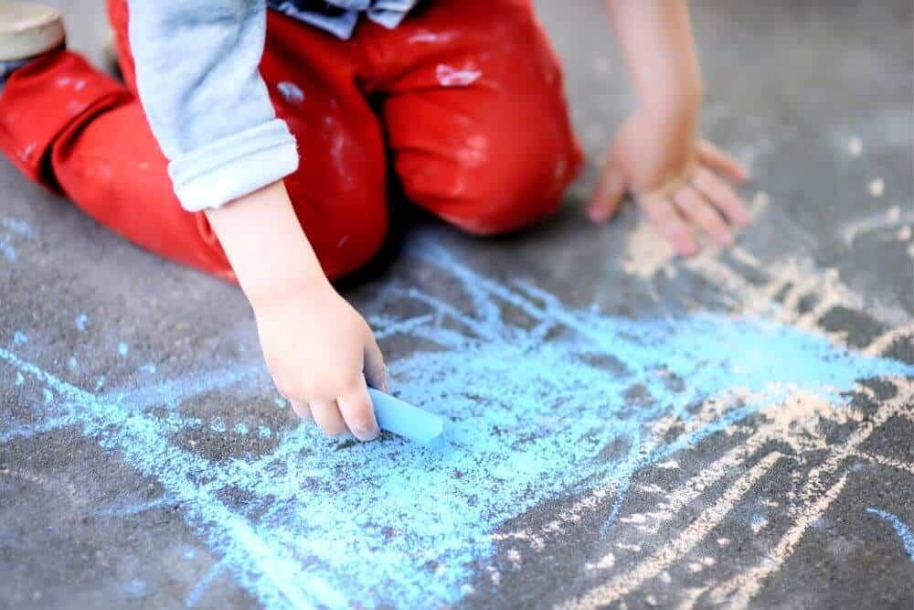 Homemade sidewalk chalk drawing