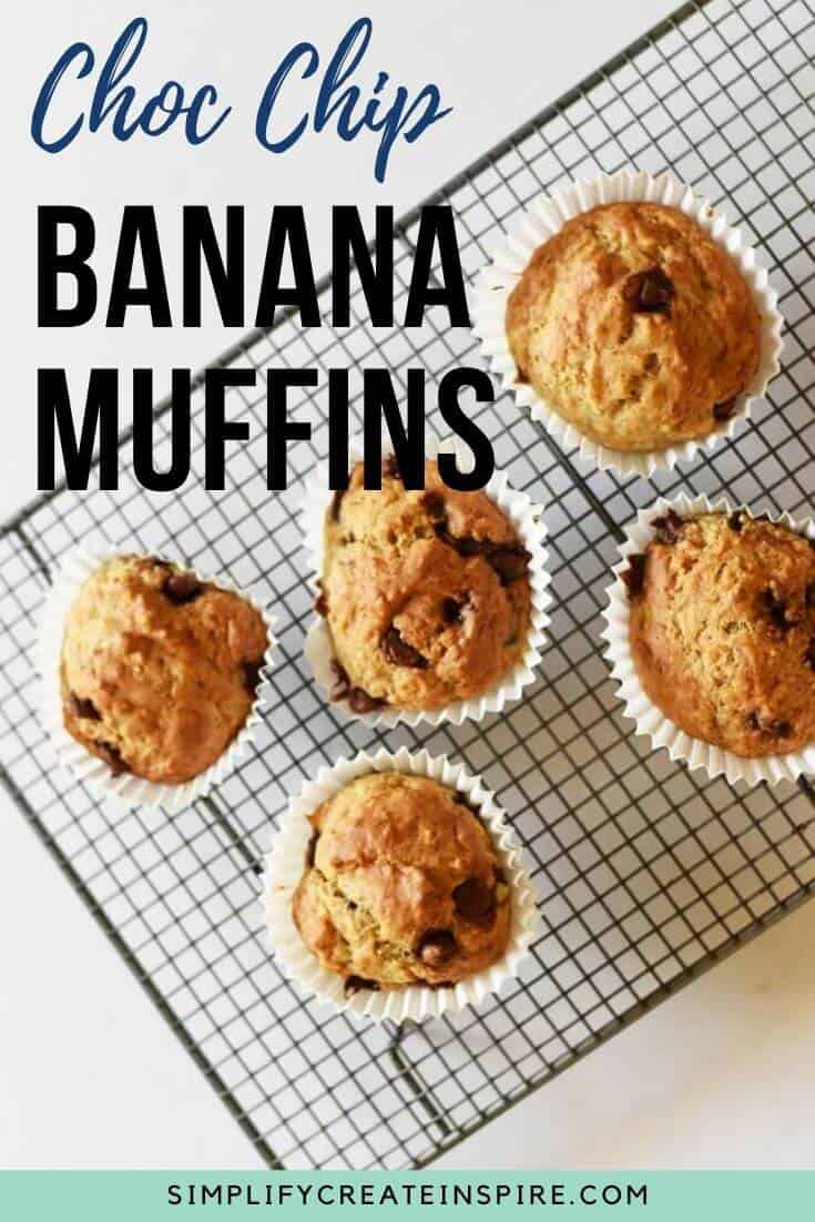 Moist banana muffins with chocolate chips
