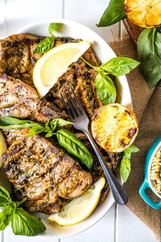 Lemon basil pork chops