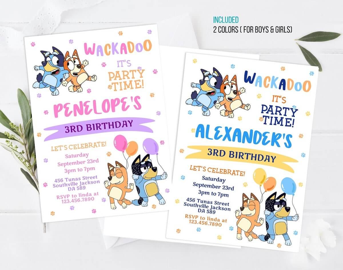 Bluey birthday invitation