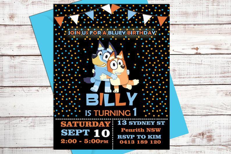 Etsy bluey party invitation