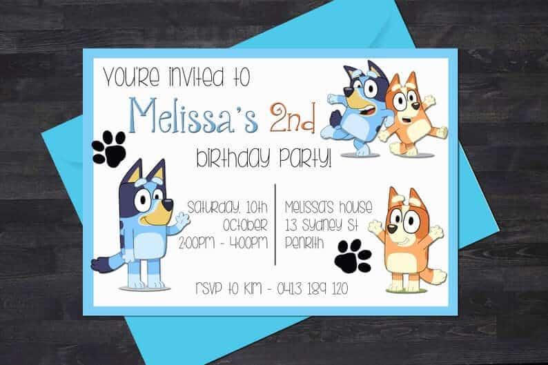 Custom bluey party invites