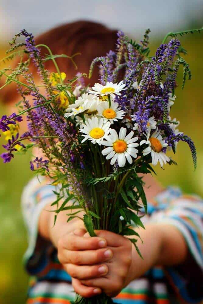 Child giving a bunch of flowers
