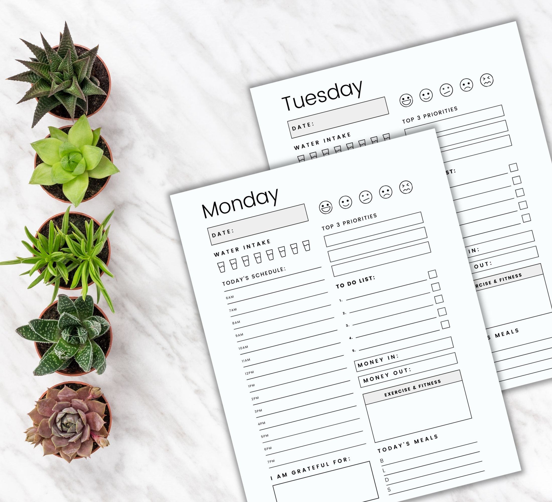 Daily planner pages printable planner
