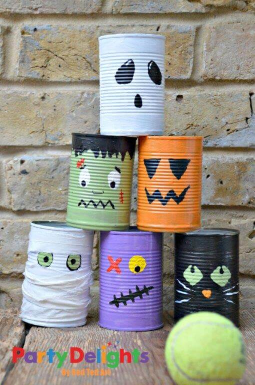 Halloween tin can bowling game