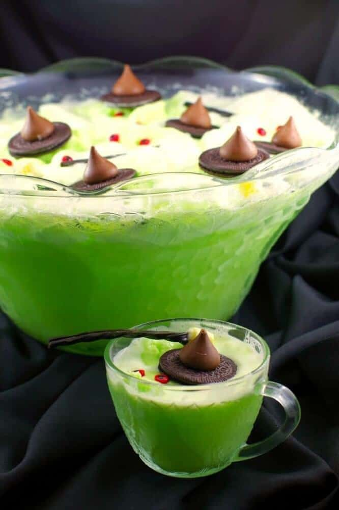 Melting witch punch halloween drinks for kids