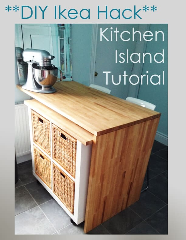 Rolling kitchen island kallax hack
