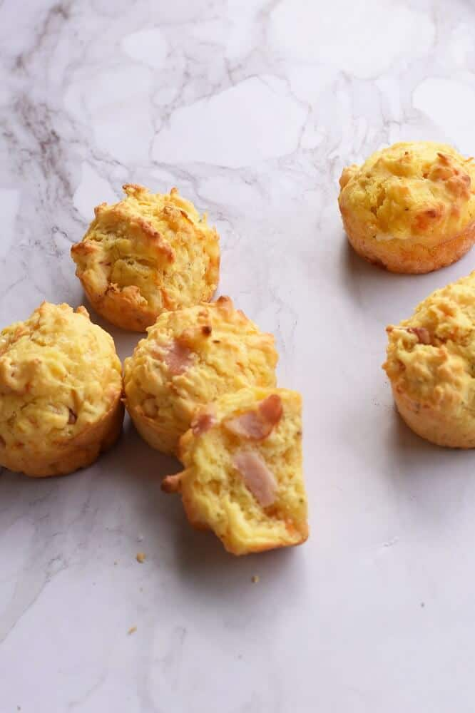 carrot muffins with cheese and ham