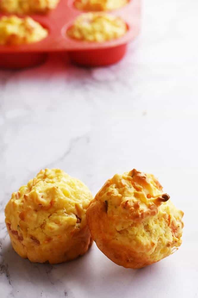 Savoury carrot & cheese muffins with ham and seasoning