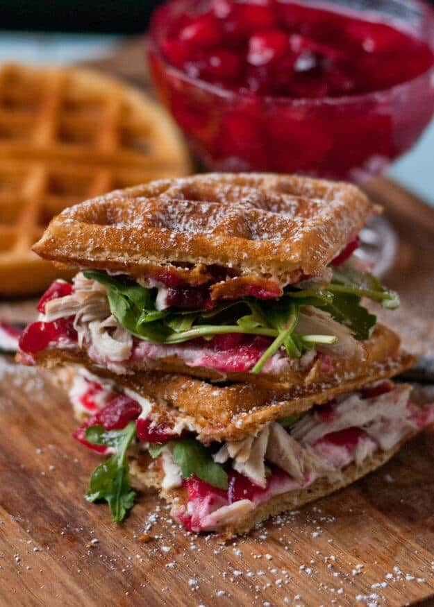 Waffle cranberry sandwich with turkey leftovers