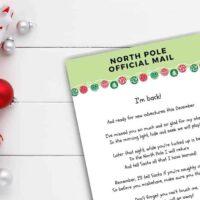 Free printable elf on the shelf return letter