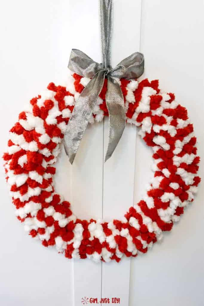 Red and white fluffy christmas wreath 15 pin full finished girl just diy 683x1024 1