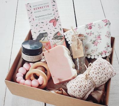 Baby girl vintage gift basket
