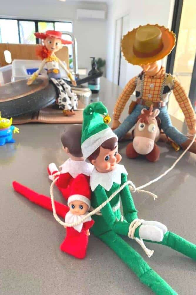 Elf on the shelf with toy story characters