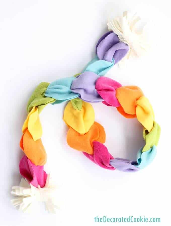 Handmade rainbow scarf no sew
