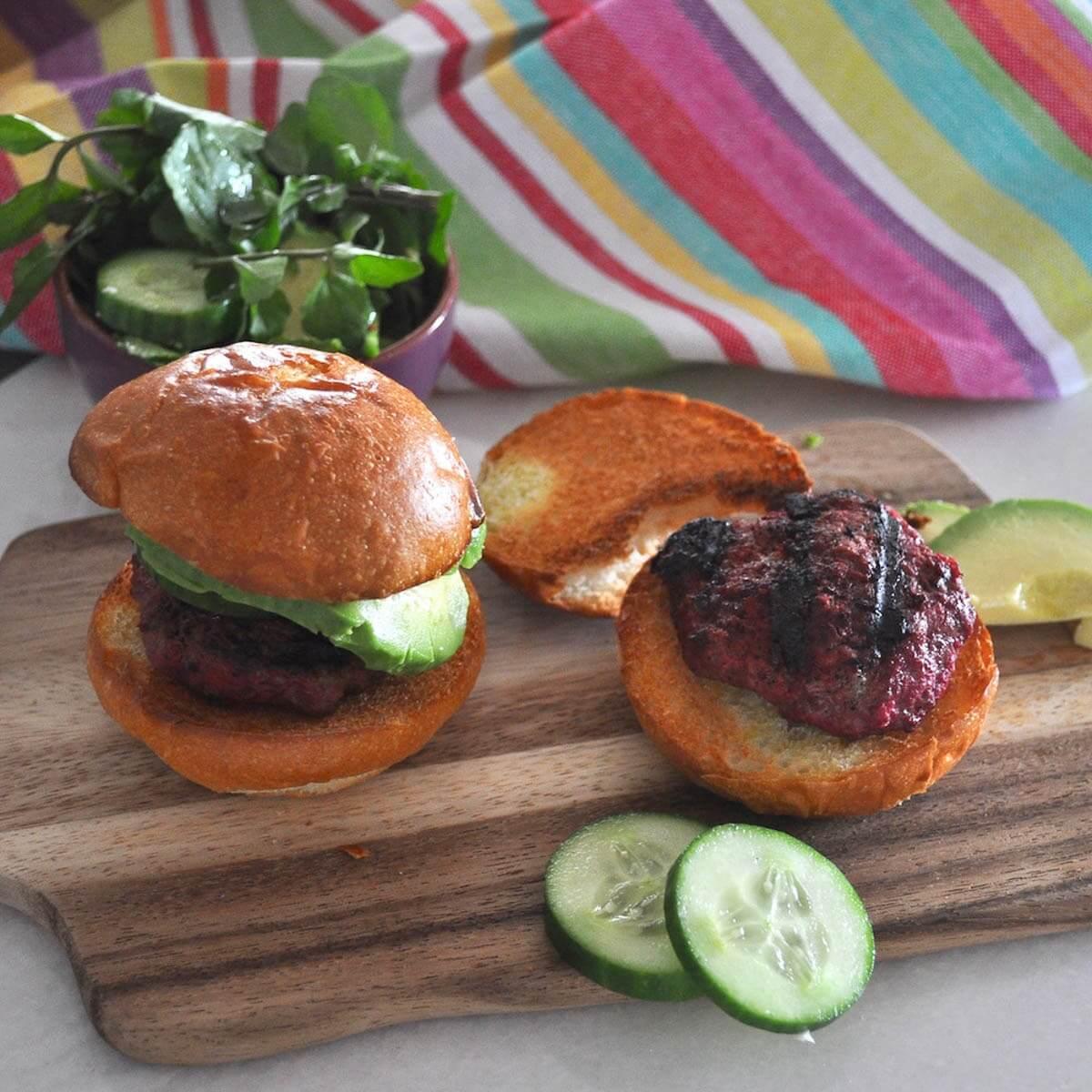 Beetroot beef burger 1