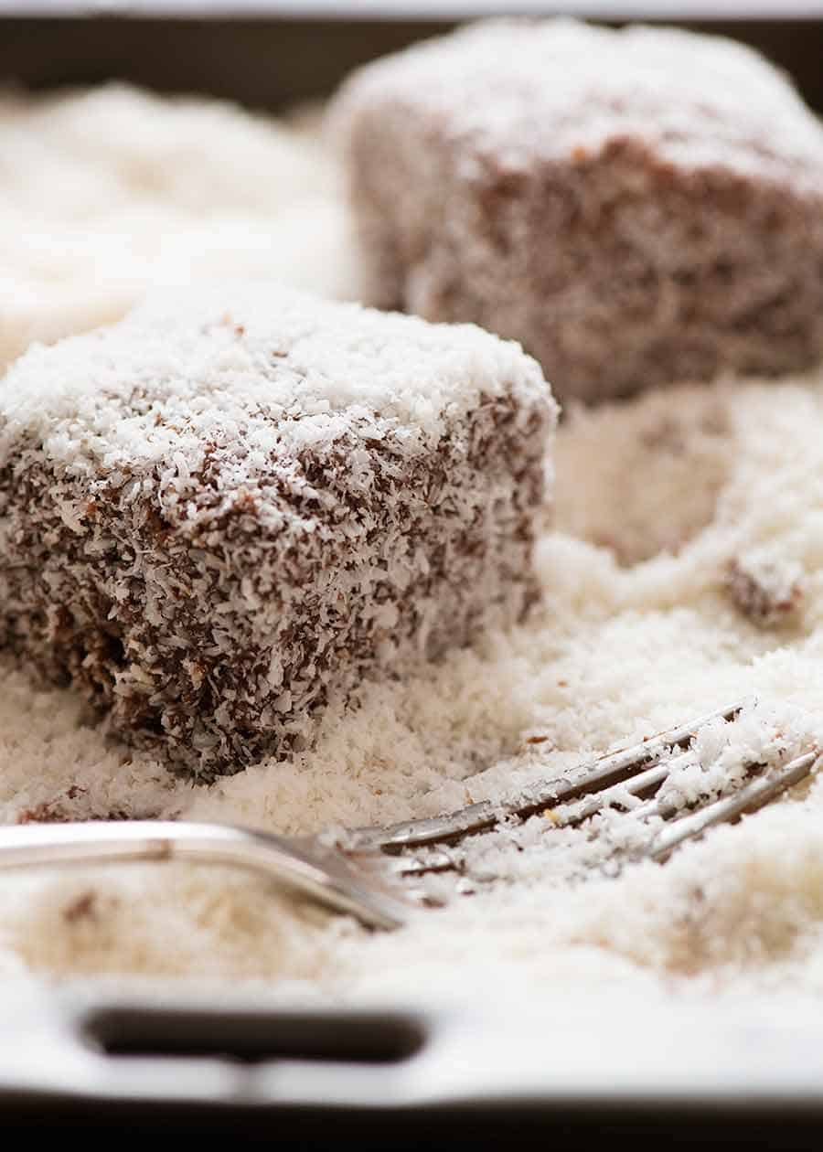 Lamingtons with a fork