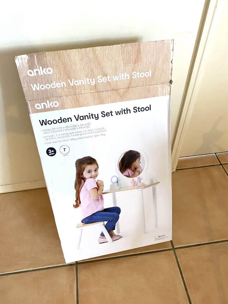 Kmart kid's wooden vanity set with stool