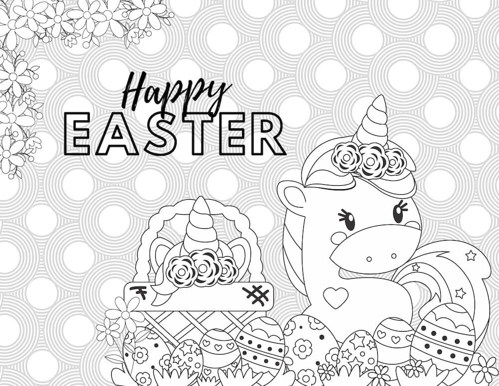 Unicorn easter colouring sheet