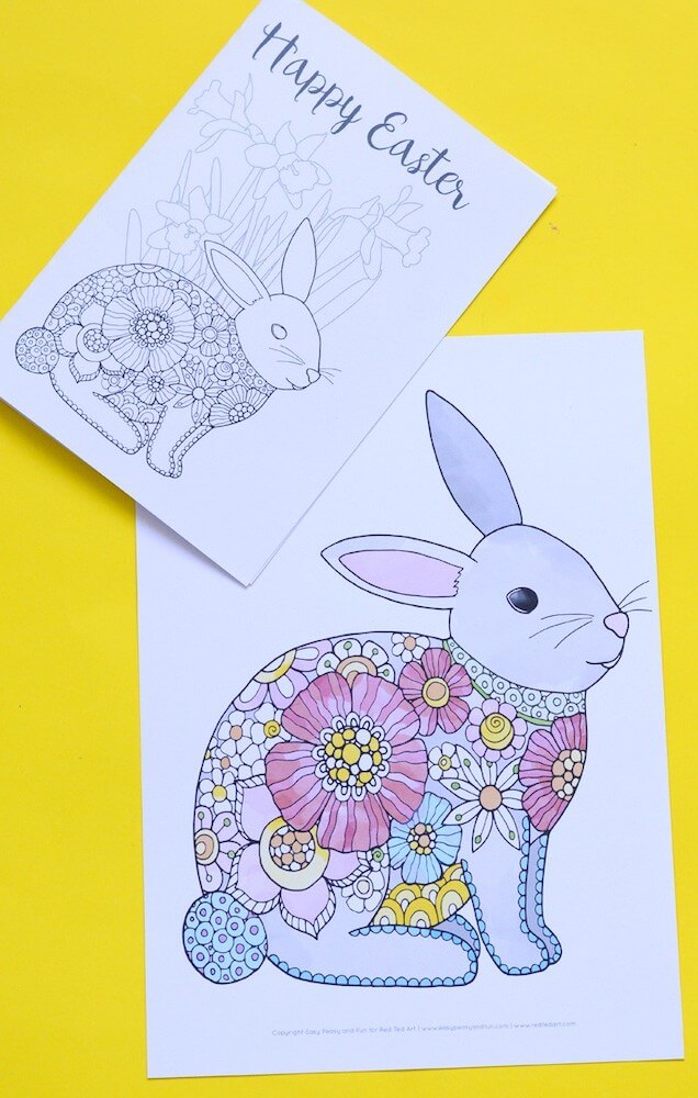 Printable easter bunny colouring page