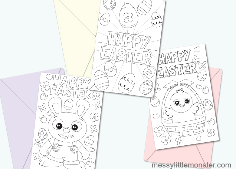 Happy easter colouring pages