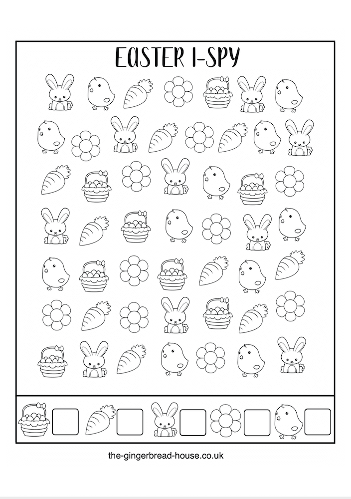 Easter i spy activity sheet