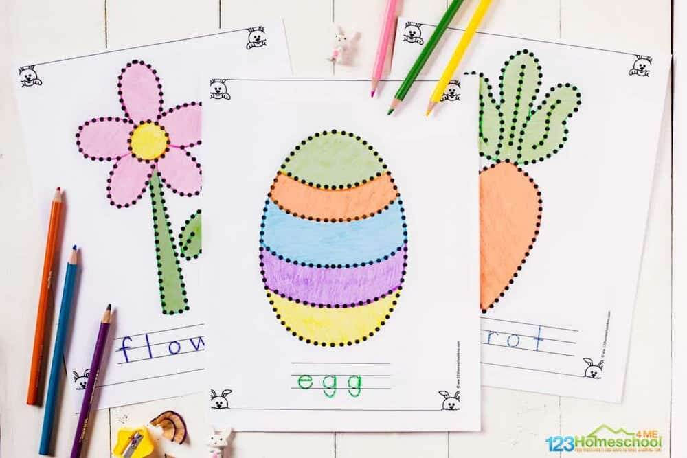 Spelling easter colouring pages
